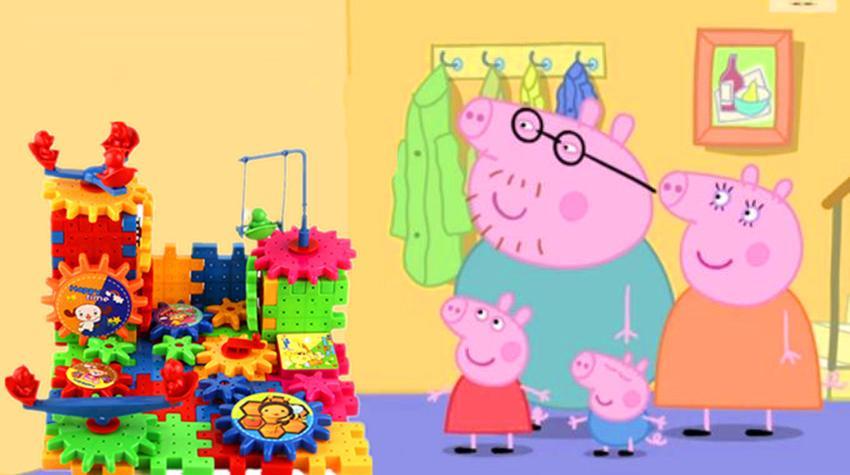 粉红猪小妹用喜羊羊与灰太狼积木搭建大城堡游戏一