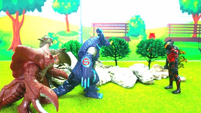 贝利亚带领怪兽军团破坏小镇,英雄奥特曼保护小镇