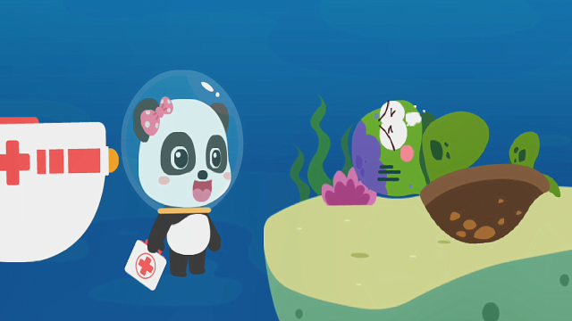 宝宝巴士儿童游戏之动物世界 海洋医生妙妙治疗中毒的海龟