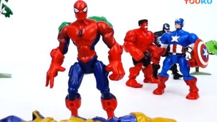 钢铁侠 美国队长 绿巨人正在破碎城市.